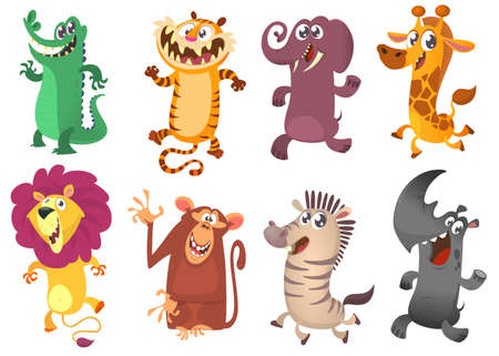 Illustration pour Cartoon tropical African animal set. Wild cartoon cute animals collections vector. Big set of cartoon jungle animals flat vector illustration. - image libre de droit