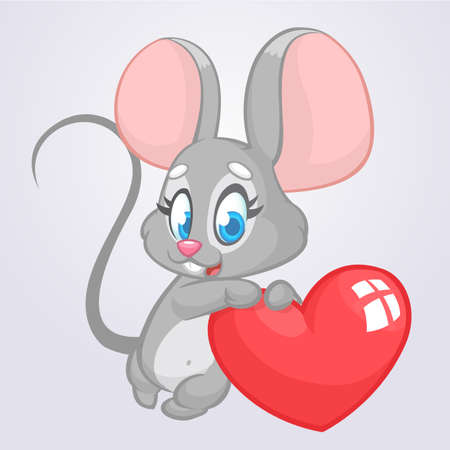 Illustrazione per Cartoon cute mouse holding a love heart vector illustration for St Valentine's day. - Immagini Royalty Free