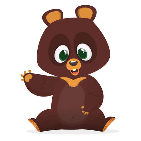Illustrazione per Cartoon funny bear character with big eyes waving hand. Vector illustration - Immagini Royalty Free