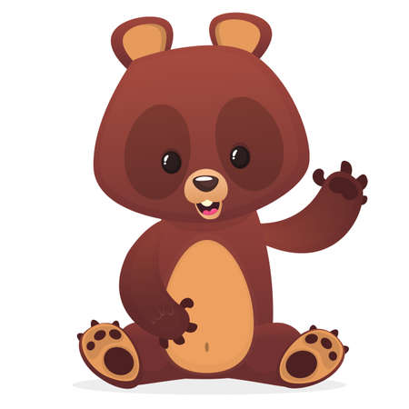 Illustrazione per Cartoon cute teddy bear with eyes buttons waving hand. Vector illustration - Immagini Royalty Free