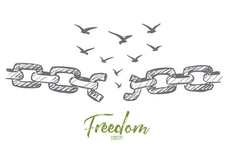 Illustration pour Vector hand drawn freedom concept sketch with broken chain and flock of birds flying over it - image libre de droit