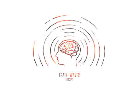 Ilustración de Brain waves concept. Hand drawn human head radiating waves. Brain study isolated vector illustration. - Imagen libre de derechos