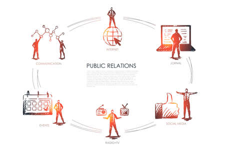 Illustration pour Public relations - communication, jornal, radio and tv, social media, events set concept. Hand drawn isolated vector - image libre de droit