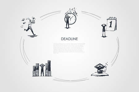 Illustration pour Deadline - business people hurrying up in office because of deadlines vector concept set. Hand drawn sketch isolated illustration - image libre de droit