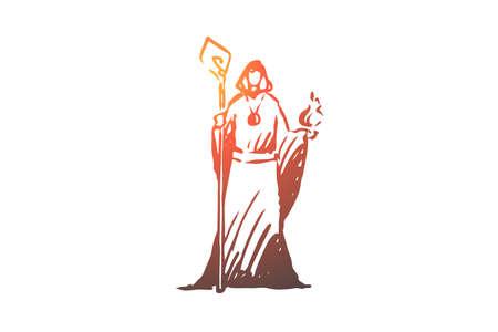 Illustrazione per Magician, wizard, magician, healer, psychic concept. Hand drawn wizard in a fantasy dress concept sketch. Isolated vector illustration. - Immagini Royalty Free
