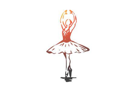 Ilustración de Ballerina, girl, dance, woman, art concept. Hand drawn ballerina in dance pose concept sketch. Isolated vector illustration. - Imagen libre de derechos