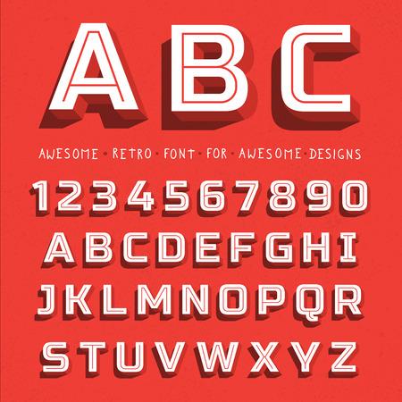 Illustration pour Vector Retro 3D Font with shadow. Vintage Alphabet on grunge background - image libre de droit