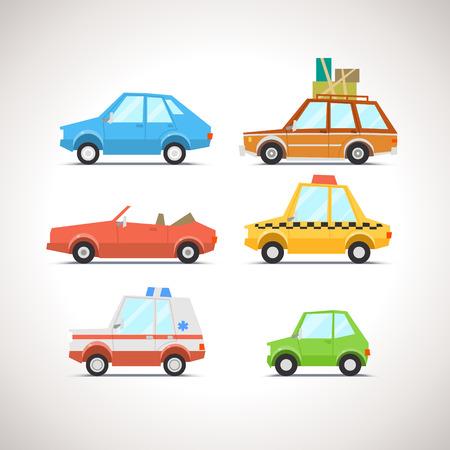 Illustrazione per Car Flat Icon Set 1 - Immagini Royalty Free