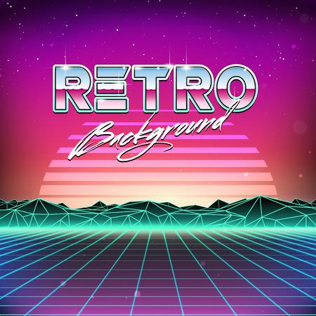 Illustration pour 80s Retro Futurism Sci-Fi Background - image libre de droit