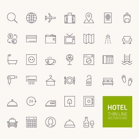 Ilustración de Hotel Booking Outline Icons for web and mobile apps - Imagen libre de derechos