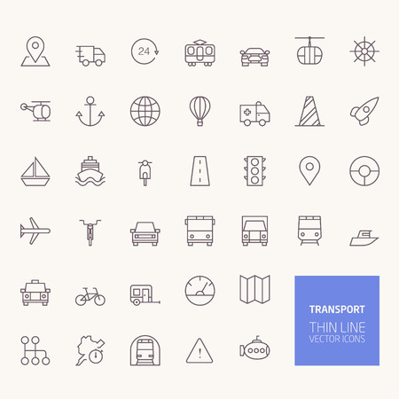 Transportation Outline Icons for web and mobile apps