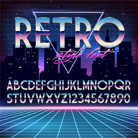 Photo for Shiny Chrome Alphabet in 80s Retro Futurism style. Vector font on cityscape background - Royalty Free Image