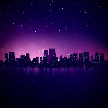Illustration pour Night City Skyline. Vector Cityscape Background - image libre de droit