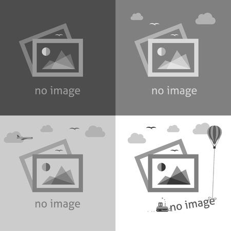Ilustración de No image creative signs in grayscale. Internet web icon to indicate the absence of image until it will be downloaded. - Imagen libre de derechos