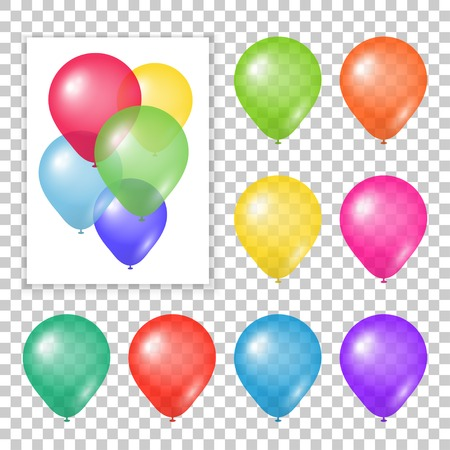 Illustration pour Set of party balloons on transparent background. Different colored realistic balloons vector illustration. - image libre de droit