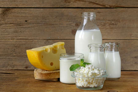 Photo for assortment of dairy products (milk, cheese, sour cream, yogurt) - Royalty Free Image