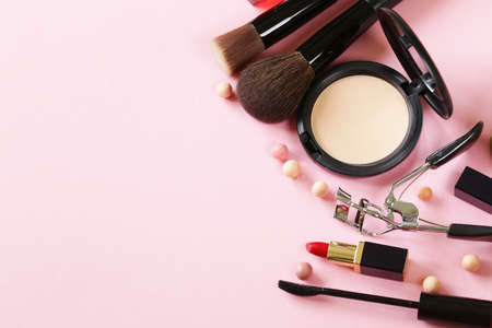 Photo for cosmetics set for make-up face powder, lipstick, mascara brush - Royalty Free Image
