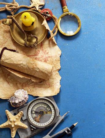 Photo pour Vintage map, compass, magnifier - adventure and treasure hunt - image libre de droit