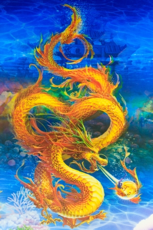 Dragon is mythical creature of the Chinese people  mural