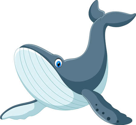 Illustration for Happy blue whale cartoon - Royalty Free Image