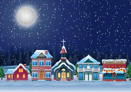 Ilustración de Fabulous snow covered town in the Christmas night. - Imagen libre de derechos