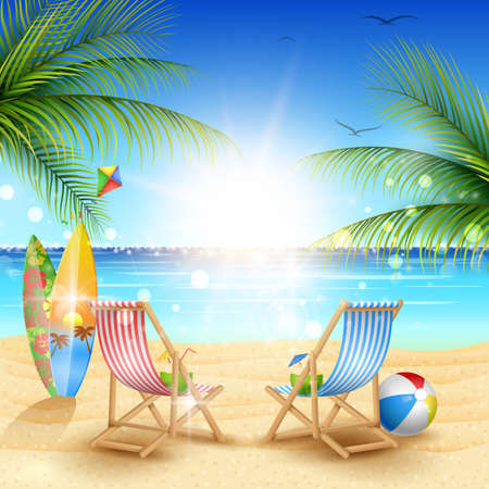 Ilustración de Beautiful summer beach background - Imagen libre de derechos
