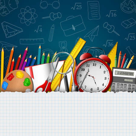 Ilustración de School background with school supplies and empty paper - Imagen libre de derechos