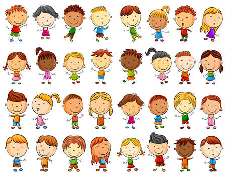 Illustration pour Happy kid cartoon collection - image libre de droit