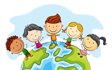 Illustration pour Happy kid cartoon standing around the world - image libre de droit