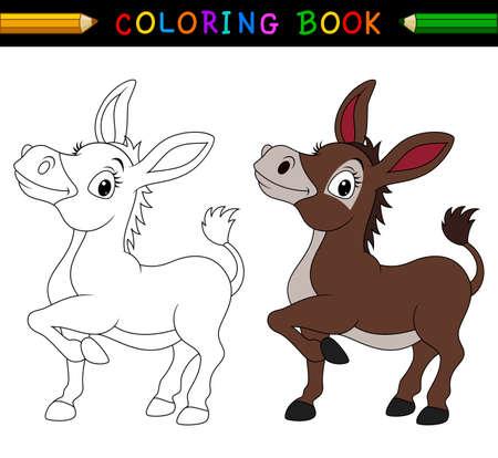 Photo pour Cartoon donkey coloring book - image libre de droit