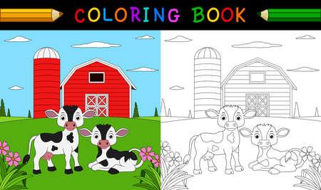 Ilustración de Cartoon cow coloring book - Imagen libre de derechos