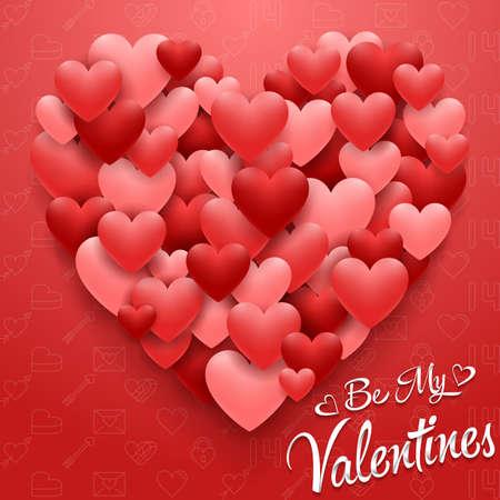 Ilustración de Valentines hearts card on red background - Imagen libre de derechos
