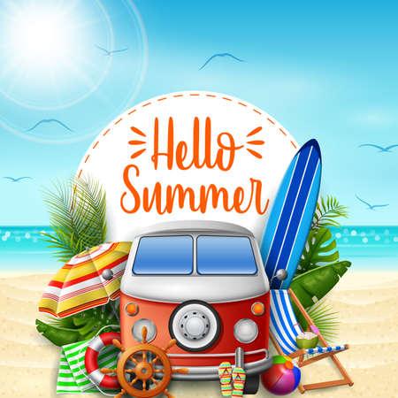 Illustration pour Hello summer. Summer vacations. Camper van on the beach. - image libre de droit