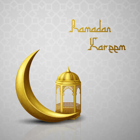 Foto de Ramadan Kareem greeting background with crescent moon and arabic lantern - Imagen libre de derechos