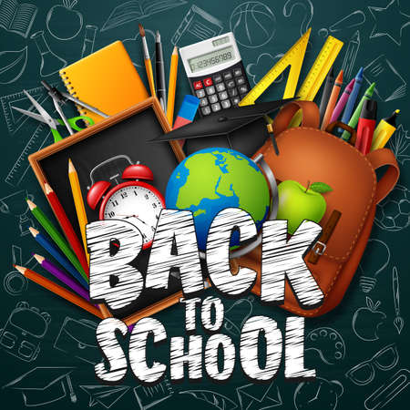 Ilustración de Back to school background with stationery and school supplies - Imagen libre de derechos