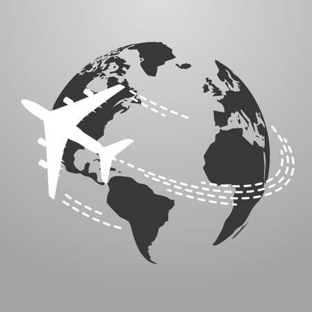 Illustration pour Vector illustration of Travel icon with airplane fly around the world - image libre de droit