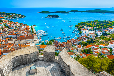 Foto de Aerial landscape view over Hvar town in Croatia, Europe Mediterranean. - Imagen libre de derechos