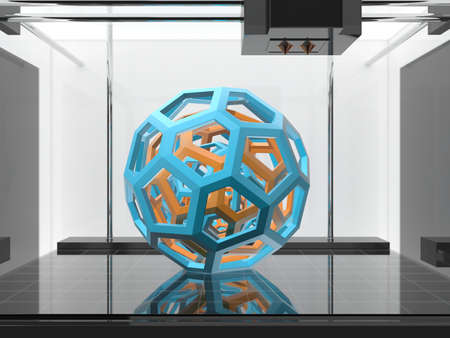 Foto de Three-dimensional printing machine with a three-dimensional object - Imagen libre de derechos