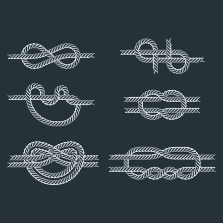 Ilustración de Navy blue rope with marine knots white pattern vector. Sea boat shipping natural tackle sign vessel. Yacht white navy cable sea boat knots lashing bend net string design. - Imagen libre de derechos