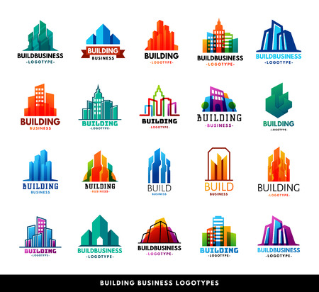 Illustration for Architecture buildings geometry silhouette skyscraper construction builder developer agency logo badge real estate company vector illustration. Abstract creative corporate city house shape. - Royalty Free Image
