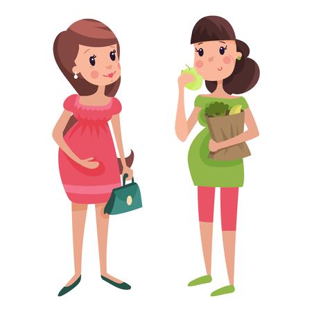 Ilustración de Pregnancy motherhood people expectation concept happy pregnant woman character life with big belly vector illustration - Imagen libre de derechos