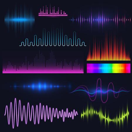 Illustration pour Vector digital music equalizer audio waves design template audio signal visualization illustration. - image libre de droit