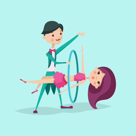 Illustration for Cute magician character tricks vector illustration magic show cartoon man wizard circus - Royalty Free Image