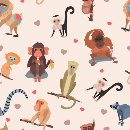 Illustration for Different cartoon monkey breed character animal wild zoo cute ape chimpanzee vector illustration seamless pattern background - Royalty Free Image