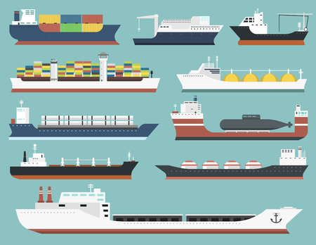 Illustration pour Set of commercial delivery cargo vessels and tankers shipping bulk carrier train ferry freight industrial goods side view isolated on background tankers boat vector illustration - image libre de droit