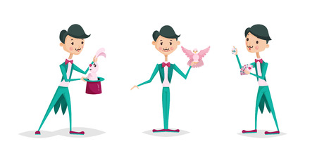 Illustration for Cute magician character tricks vector illustration magic show cartoon man wizard circus. Surprise entertainment performance illusion male person wand profession - Royalty Free Image
