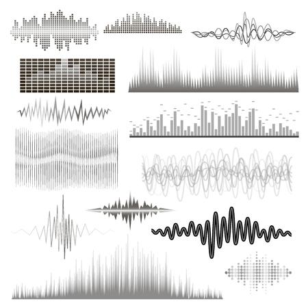 Illustration pour Vector digital music equalizer audio waves design template audio signal visualization signal illustration. - image libre de droit