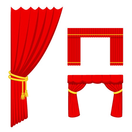 Illustration pour Theather scene blind curtain stage fabric texture performance interior cloth entrance backdrop isolated vector illustration - image libre de droit