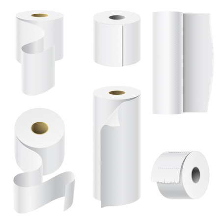 Illustration pour Realistic paper roll mock up set - image libre de droit