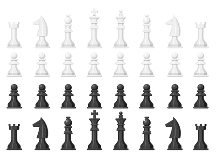 Illustration for Chess board and chessmen leisure concept knight group white and black piece competition vector illustration - Royalty Free Image